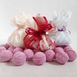 Rhubarb and custard bath marbles